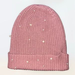 Blush Pink Beanie With Faux Pearls